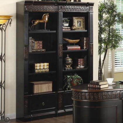 "Nicolas 800922 54"" Bookcase With 8 Shelves 2 File Drawers Intricate Carved Floral Trim Bronze Hardware And Classic Molding Plinth Base In Espresso And Brown"