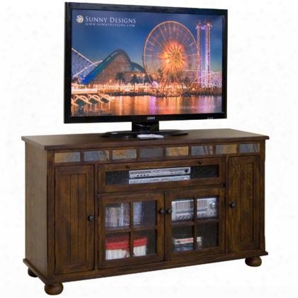 "Oxford Collection 2728do 62"" Counter Height Tv Console With Natural Slate Detachable Bun Feet And 1 Adjustable Shelf Behind Glass Door In Dark Oak"