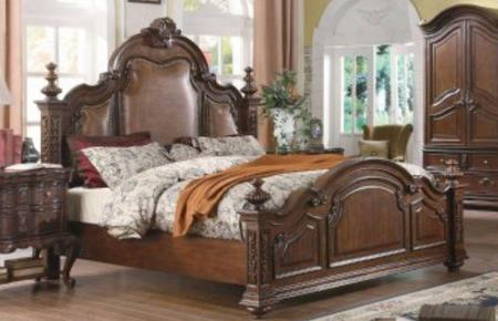 Rs5271k Ramses King Leather Bed In Dark Cherry