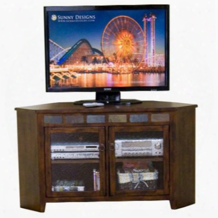 "Santa Fe Collection 3399dc 55"" Corner Tv Console With 2 Beehive Glass Doors Illegitimate Slate And Adjustable Shelf In Dark Chocolate"