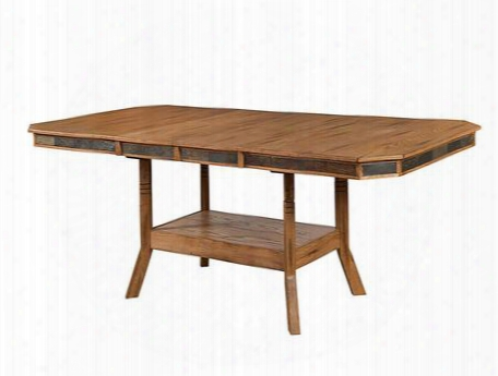 "Sedona Collection 1151ro 60"" - 90"" Dining Table With Two 15"" Butterfly Leaves Bottom Shelf And Adjustable Height In Rustic Oak"