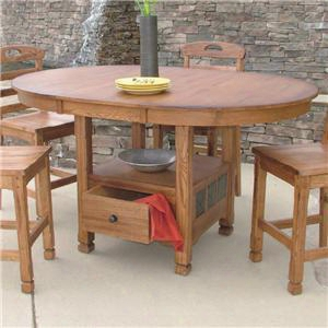 "Sedona Collection 1247ro 48"" - 66"" Oval Family Butterfly Table With Drawer 18"" Butterfly Leaf And Distressed Detailing In Rustic Oak"