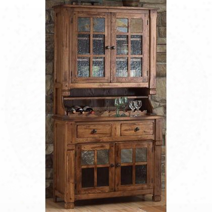 """Sedona Collection 2412ro 42"""" Hutch & Buffet With Natural Slates Waterfall Glass And 9 Wine Bottle Holders In Rustic Oak"""