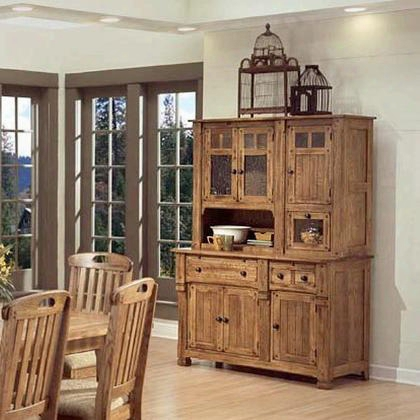 "Sedona Collection 2416ro 77"" Hutch & Buffet With Natural Slate Waterfall Glass And Adjustable Shelves In Rustic Oak"