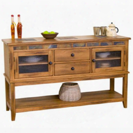 "Sedona Collection 2446ro-d 60"" Server With 2 Drawers 3 Adjustable Shelves Natural Slate And Waterfall Glass In Rustic Oak"