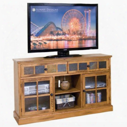"Sedona Collection 2733ro 60"" Tv Console With Natural Slare 2 Beehive Glass Door And 3 Adjustable Shelves In Rustic Oak"