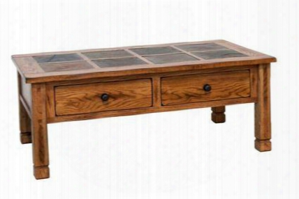 "Sedona Collection 3143ro 49"" Coffee Table With Two Dovetailed Drawers Natural Slate And Dented Rustic Knobs In Rustic Oak"