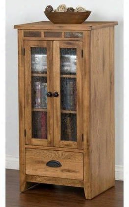 "Sedona Collection 3398ro-ap 48"" Audio Pier With Combo Drawer Adjustable Shelves And Waterfall Glass Doors In Rustic Oak"