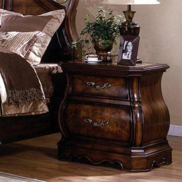 Sh2223n Shevon 2 Drawer Nightstand With Marble Top In Dark Cherry
