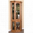 "Sedona Collection 2509RO 34"" Curio with 2 Glass Doors 3 Glass Adjustable Shelves and 3-Way Touch Light in Rustic Oak"
