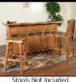 "Sedona Collection 2575RO 78"" Bar with Wine Rack Stemware Glass Rack Metal Foot Rail and 2 Doors with Locks in Rustic Oak"