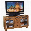 "Sedona Collection 2753RO-52 52"" TV Console with Natural Slate Accents Bun Feet 2 Drawers and 2 Waterfall Glass Doors in Rustic Oak"