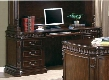 "Tucker 800801B 72"" Credenza Desk with 4 Drawers Keyboard Tray Double Pedestal Power Outlet Computer Storage Door and Power Outlet in Rich Brown"