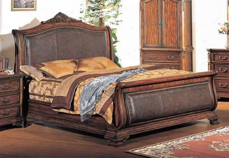 Ti5922k Tippton Sovereign Panel Bed With Leather In Dark Cherry