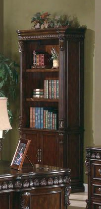 "Tucker 800803 37"" Bookcase With 2 Doors 3 Open Shelves Storage Base Molding Trim Dark Bronze Hardware And Intricate Carvings In Rich Brow"