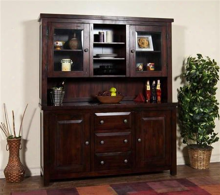 "Vineyard Collection 2428rm 78"" Hutch & Buffet With 2 Glass Doors 3 Drawers Wine Bottle Holders And Adjustable Shelves In Rustic Mahogany"