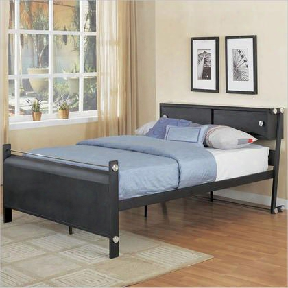 "Z-bedroom Collection 354-045 40"" Full Size Bookcase Bed With Unique Z-frame Headboard Frame Flat Panel Footboard 2-door Headboard Bookcase And Brushed Nickel"