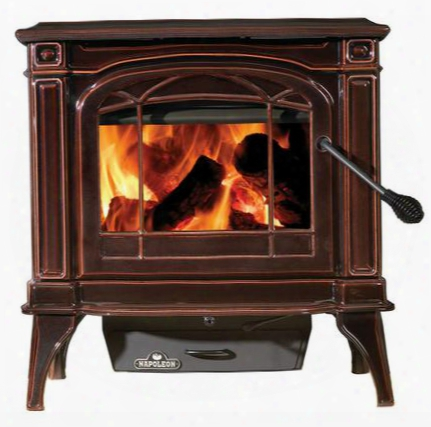"""1400cn Cast Iron Epa Wood Burning Stove With Ceramic Glass Rear Shield Ash Pan Refractory Lined Firebox Concealed Hinges 6"""" Top Vent Flue & In Porcelain"""