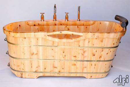 """Ab1136 61"""" Free Standing Bathttub With Chrome Tub Filler Cedar Wood Padded Comfort Head Rest Hand Held Shower Head Re-enforced By Three Electroplated Iron"""