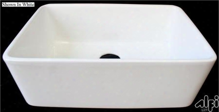 "Ab503-b 24"" Smooth Apron Single Bowl Farmhouse Kitchen Sink With Fireclay 3 1/2"" Rear Center Drain And Cupc Certified In"