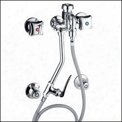 K-13938-2a-pc Modern Double Handle Bedpan Washer And Hose From Triton Collection In Polished Chrome