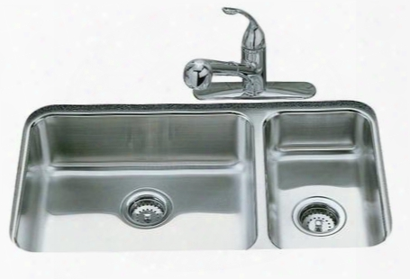 K-3352 Double Basin Stainless Steel Kitchen Sink From The Undertone Series: Stainless