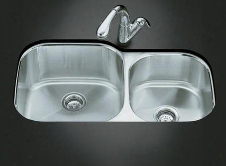 K-3356 Double Basin Stainless Steel Kitchen Sink From The Undertone Series: Stainless