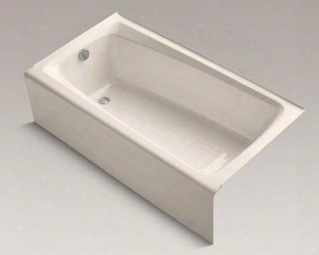 "K-505-sbi Mendota Collection6 0"" Three Wall Alcove Cast Iron Soaking Bath Tub With Left Hand Drain In Innocent"