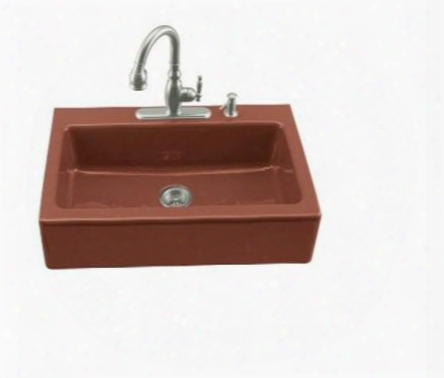 K-6546-4-r1 Single Basin Cast Iron Kitchen Sink From The Dickinson Series: Roussillon
