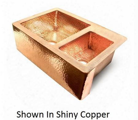 Ks103622ds D'vontz 36 60/40 Double Well Flat Front Large Copper Kitchen Sink In Dark