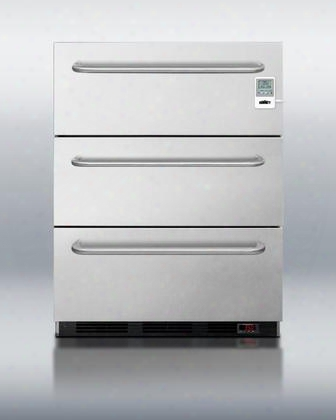 "Meddt Series Sp6dsstb7meddt 24"" 5.4 Cu. Ft. Three-drawer Medical Refrigerator Automatic Defrost Digital Thermostat High Temperature Alarm Professional"