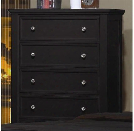 """Sandy Beach 201325 36.25"""" Chest With 5 Drawers Felt Lined Top Drawer Tapered Turned Legs Tropical Hardwoods And Veneers Construction In Black"""