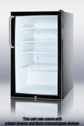 "Scr500bl7cssada 20"" Commercially Approved Ada Compliant Compact Refrigerator With 4.1 Cu. Ft. Capacity Glassdoor And Shelves Interior Light And Automatic"
