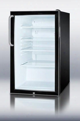 "Scr500bltbada 20"" 4.1 Cu. Ft. Ada Compliant Reversible Glass Door Compact Refrigerator With Factory Installed Lock Professional Towel Bar Handle Adjustable"