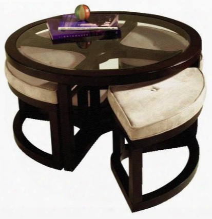 T1020-45 Juniper Collection Round Cocktail Table With 4