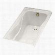 "K-1219-R-W Hourglass Collection 60"" Three Wall Alcove Soaking Bath Tub with Right Hand Drain In White"