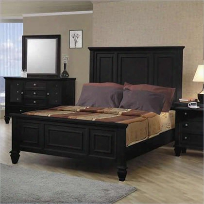201321q Coaster Sandy Beach Classic Panel Bed In Black Finish Queen
