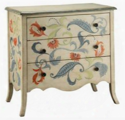 47598 Caprice 3 Drawer Chest With Floral And Leaf