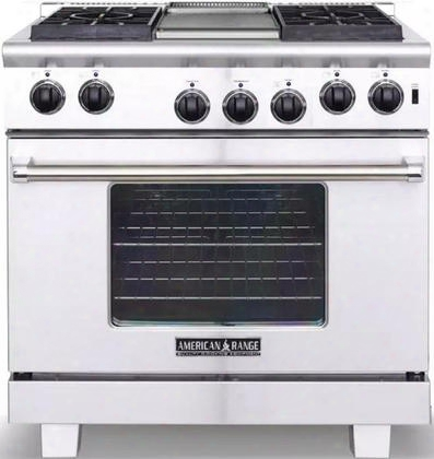 "Ar-r364gd-l 36"" Heritage Series Liquid Propane Range With 6 Cu. Ft. Oven Capacity 4 Sealed Burners 11"" Griddle And Innovection System In Stainless"
