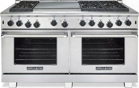 "Arr-6062gdl 60"" Heritage Series Liquid Propane Range With Two 4.4 Cu. Ft. Capacity Ovens 6 Sealed Burners 22"" Griddle And Innovection System In Stainless"