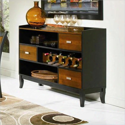 "Boyer 102095 57.75"" Server With 3 Storage Drawers Euro Glides Built In Wine Harass  And Birch Veneer Material In Amber And Black"