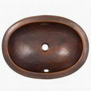 Cf152an Solid Hand Hammered Copper Oval Undermount Lavatory Sink In Antique Copper