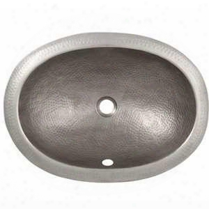 Cf153sn Solid Hand Hammered Copper Oval Self Rimming Lavatory Sink In Satin Nickel