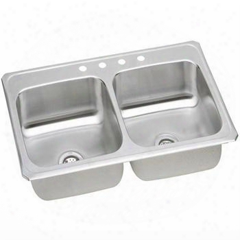 "Cr4322mr2 43"" Top Mount Self-rim Double Bowl 20-gauge Stainless Steel Sink With 2 Holes"