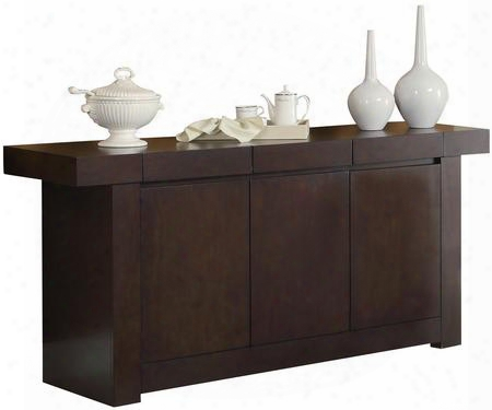 "Dabny Collection 103105 67.5"" Server With 3 Doors Ash Solids And Hardwood Materials In Cappuccino"
