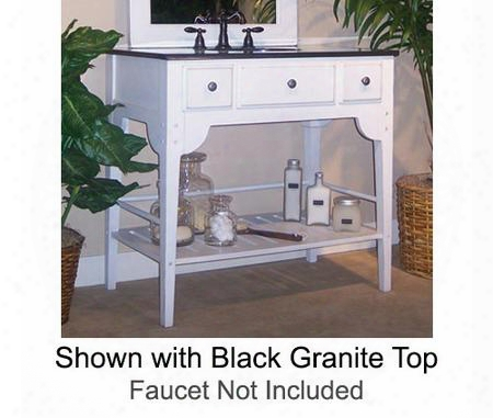 "Dover Collection 340-3600-w-tb 36"" Single Sink Vanity With Bottom Shelf Faux Drawer Front And Cottage White Sherwin Williams Finish With Tan Brown Granite"