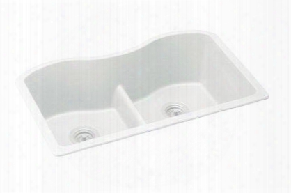 "Elgulb3322wh0 Harmony E-granite 33"" Undermount Double Basin Kitchen Sink In White"