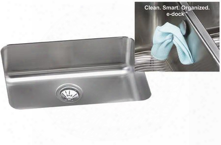 Elu231710lek Gourmet E-dock 24-1/2 X 18-1/4 Undermount Single Bowl 18 Gauge Stainless Steel Kitchen Sink With Left Drain