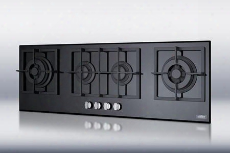 "Gc443bgl 43"" Island Gas Cooktop With 4 Sealed Burners Cast Iron Grates Electronic Ignition And Smooth Black Ceramic Glass"