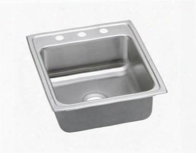 "Lrad202255mr2 20"" Top Mount Self-rim Single Bowl Ada Compliant 18-gauge Stainless Steel Sink With 2 Holes"